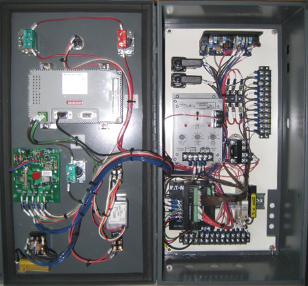 Panel has MMI display, PLC and  Motor Controls.